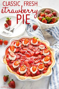 This Classic Fresh Strawberry Pie is an old family recipe for the perfect easy summer dessert! It's packed with fresh strawberries and made with an easy trick for the perfect juicy slice every time! Recipe from thebusybaker.ca! #strawberrypie #strawberry #dessert #pie #homemade #nobake #berries #barbecue #party #family Tart Recipes, Best Dessert Recipes, Brownie Recipes, Desert Recipes, Cheesecake Recipes, Recipes Dinner, Breakfast Recipes, Vegan Recipes, Easy Summer Desserts