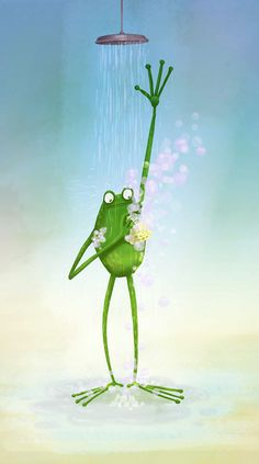Frog having a shower | Illustration + Design + Doodles – AndoTwin ...