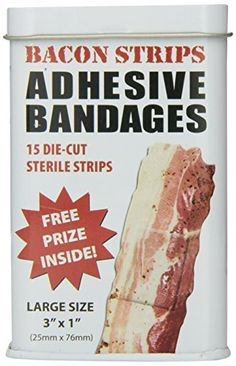 Megan--for Nick BACON shaped themed Adhesive Bandages, 15 Die-Cut Sterile Strips Bacon Gifts, Weird Gifts, Crazy Gifts, Appetite Control, Diet Books, Die Cut, Diet Pills, Christmas Fun, Christmas Presents