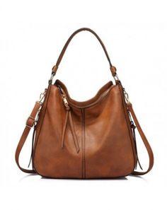 ab003ffc60c1 Handbags for Women Large Designer Ladies Hobo bag Bucket Purse Faux Leather  - Light Brown - C81867WDO05