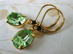 Peridot Green Vintage Rhinestone Earrings by BumbershootDesigns