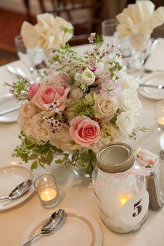 centrepiece - pink, green and white
