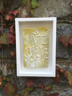 Rustic clay wall art, pretty raised impression of mixed seed heads, yellow and white, in a white wooden box frame. by Margesgallery on Etsy