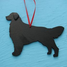 Flat Coated Retriever Black Dog - Handpainted Wood Ornament Decoration. $12.50, via Etsy.