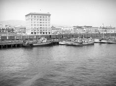 (1928)* – View showing downtown San Pedro, including the seven-story, 1928-built City Hall (center left), from the S.S. Catalina as it leaves the Port of Los Angeles.
