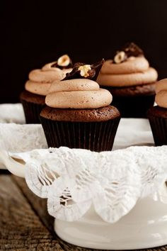Nutella Filled Chocolate Cupcakes with Nutella Buttercream Frosting
