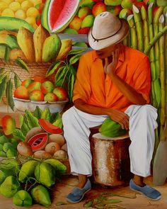 Manuel Canvas Print / Canvas Art by Dominica Alcantara Cuban Art, Mexican Art, Latino Art, Haitian Art, African Paintings, Caribbean Art, Tropical Art, Afro Art, African American Art