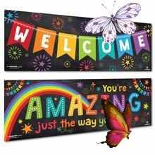 "Welcome Banner Includes 2 Banners as shown in the picture each measuring 13.5""x39"". Printed on 100lb poster paper for the brightest and boldest colors. Useful in the home as wall art or as classroom decorations and bulletin boards. Designed with preschool & elementary school ages in mind - perfect for daycares, libraries, learnin<br> Daycares, Welcome Banner, Just The Way, Bold Colors, Libraries, Bulletin Boards, Elementary Schools, Banners, Preschool"