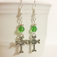 Earrings  Celtic Cross Charms  Green Beads My by CraftyChic90, $4.50