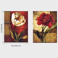 pintura a óleo decoração flores abstratas mão telas pintadas com esticada enquadrado - conjunto de 2 de 3594835 2016 por R$419,09