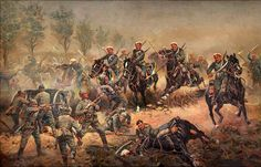 Charge of the Russian Cuirassiers Guard against a German artillery battery 1914. A. Scheloumoff