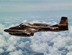 U.S. Air Force A-37 counterinsurgency aircraft in flight over Vietcong target in South Vietnam.
