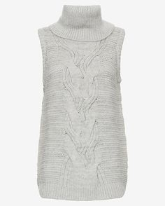 Exclusive for Intermix Turtleneck Gilet: Grey: An indispensable must-have thanks to soft cable knit. Wide turtleneck. Sleeveless. Slits at side of hem. In grey.  Fabric: 90% wool/6% nylon/4% mohair   Made in USA. Model Measurements: Height 5'10 1/2; Waist 24 ; Bust 31 wearing size S  Length from ...