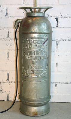 Vintage Fire Extinguisher Lamp - Brass - Repurposed - Lighting on Etsy, $199.00