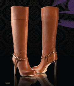 Cute stilettos heels on these brown tan leather knee-high boots! Love the buckle and gold strap. Wear with a skirt or dress or even skinnies in the fall, winter and spring 2013 - 2014 ♥ Get this look at @SPARKTREND for $40, click the image to see! #boots #shoes #womens #fashion #stilettos #heels