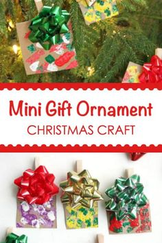 Easy Mini Gift Christmas Ornament Craft for Kids to Make Preschool Christmas Crafts, Christmas Ornament Crafts, Christmas Activities, Holiday Crafts, Easy Ornaments, Homemade Christmas Tree, Simple Christmas, Kids Christmas, Christmas Gifts
