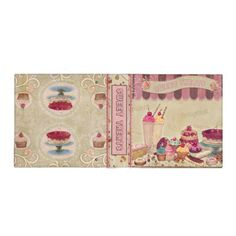 Sweet Treats Beige 3 Ring Binders