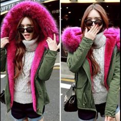 Army green with pink fur hood perka coat Army green coat with hot pink fur lining and fur is detachable from the hood. I Loveee this coat but ordered it in the wrong size. It's brand new never worn. Size L Jackets & Coats Utility Jackets