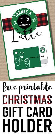 Easy Teacher Christmas Gift Idea {Starbucks Gift Card}. Cute teacher gift free printable Starbucks gift card holder. Thanks a latte gift card printable.