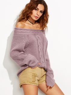 Online shopping for Purple Cable Knit Off The Shoulder Sweater from a great selection of women's fashion clothing & more at MakeMeChic.COM.