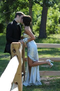 Prom picture love kisses dress hair sequins ideas outside fence pose
