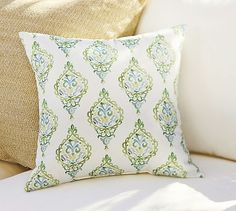 I love the colors and the pattern. Use this on the bench around the bay window.  Yasmine Indoor/Outdoor Pillow #potterybarn