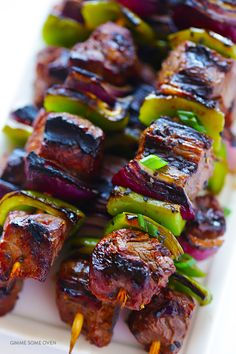 This Asian Pepper Steak Kabobs recipe is easy to make, perfect for grilling, and absolutely delicious! Grilling Recipes, Beef Recipes, Cooking Recipes, Healthy Recipes, Game Recipes, Vegetarian Grilling, Recipes Dinner, Cooking Ideas, Salad Recipes