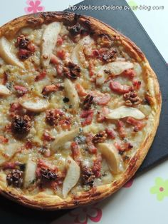 tarte poire-roquefort-lardons