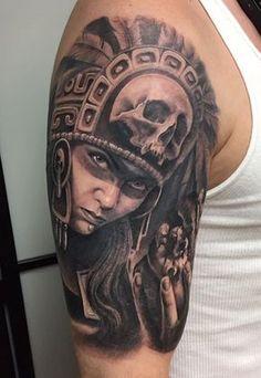 Aztec Tattoo by Chuy Espinoza Chicanas Tattoo, Head Tattoos, Body Art Tattoos, Haida Tattoo, Symbol Tattoos, Ankle Tattoo, Tatoos, Mayan Tattoos, Mexican Art Tattoos