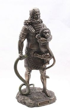 Gilgamesh, the legendary king of ancient Uruk, stands holding a majestic beast lion and a snake. He is the hero from the Epic of Gilgamesh, one of the earliest