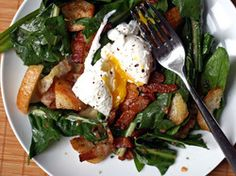 Dandelion Salad with Poached Eggs and Bacon