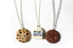 BFF Cookie and milk keychain Friendship by CharmMiniatures on Etsy 3 Best Friends Gifts, 3 Friends, Best Friend Necklaces, Best Friend Jewelry, It's Amazing, Awesome, Friendship Necklaces, Kawaii Stuff, Cute Diys