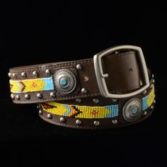 Yellow Beaded Belt detailed with conchos and set on brown leather. Genuine Leather, Handmade in the USA!