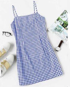 Plaid Print Sheath Cami Dress