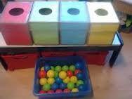 Deze dozen kan je gebruiken als alternatief voor je doosmoment. Je kan ze in verschillende formaten gebruiken. Het is de bedoeling dat de kinderen de gekleurde ballen in de juiste kleur van doos duwen.