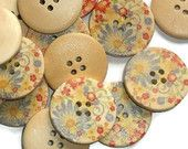 Pretty Floral Buttons, 25mm, 24 count, Jewelry Design, Crafting, Scrapbooking, Fashion, Sewing, Trim, DIY, Painted, Colorful
