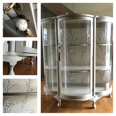 Up-cycled Display Cabinet. Laura Ashley 'Pussy Willow' wallpaper.