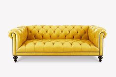 The Wright takes the classic Chesterfield sofa style you know and love to a whole knew level by featuring a tufted seat instead of the traditional cushions. Yellow Leather Sofas, Yellow Couch, Grey Furniture, Vintage Furniture, Traditional Cushions, Chesterfield Style Sofa, Dark Wood Floors, Tufted Sofa, Colorful Interiors