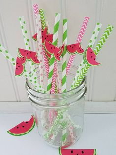 Check out this item in my Etsy shop https://www.etsy.com/listing/508110800/watermelon-paper-straws-pink-watermelon