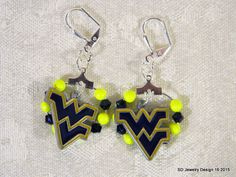 College Football Charm Earrings-West Virginia by SDJewelryDesign16