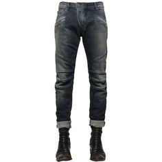 Pierre Balmain Men 16.5cm Biker Washed Stretch Denim Jeans (11.185 UYU) ❤ liked on Polyvore featuring men's fashion, men's clothing, men's jeans, blue, mens stretch denim jeans, mens torn jeans, mens distressed jeans, mens destroyed jeans and mens blue ripped jeans