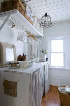 shabby chic kitchen designs – Shabby Chic Home Interiors Primitive Laundry Rooms, Farmhouse Laundry Room, Farmhouse Shelving, Laundry Room Cabinets, Laundry Room Organization, Storage Organization, Storage Ideas, Storage Shelves, Wall Shelves