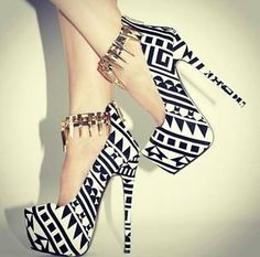 shoes black and white tribal pattern ankle strap high heels cute high heels aztec spikes jewels platform shoes platform high heels platform heels pumps heels black white hipster sexy pattern Pretty Shoes, Beautiful Shoes, Gorgeous Heels, Amazing Heels, Awesome Shoes, Zapatos Shoes, Shoes Heels, Dress Shoes, Sexy Heels