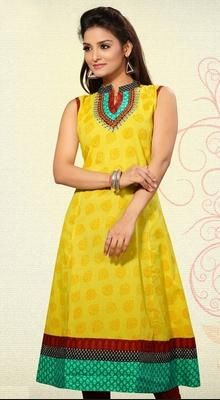 Mystique Yellow Cotton kurti  Become the object of everyone's attention dressed in this mystique yellow cotton kurti. The bead, block print & resham work on attire personifies the entire appearance. #LatestDesignerKurtis #LadiesFashionKurtis