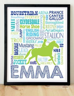 Horseback riding; horseback rider; equestrian; riding; horse; horses; horse print; horse design; horse art; girl art on Etsy, $10.00