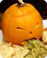 """A new take on the ol' """"barfing pumpkin"""" trick... guac."""