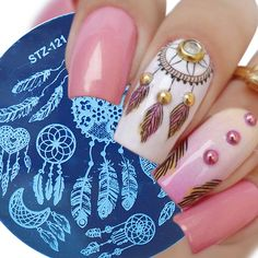 Universe of goods - Buy Round Nail Stamping Template Plates Dream Catcher Flowers Lace Image Polish Transfer DIY Tools For Nail Art for only USD. Flower Nail Designs, Toe Nail Designs, Acrylic Nail Designs, Acrylic Nails, Flower Makeup, Flower Nails, Hair And Nails, My Nails, Dream Catcher Nails