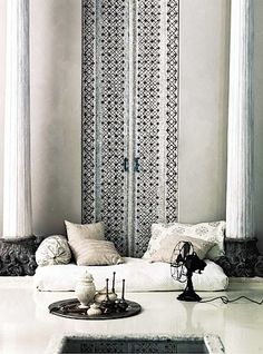 This is one of my favorite images EVER!! It is THE inspiration photo for the India apartment's master bedroom.  And now I know more about the image. It's from Vogue Living-Australia. It isn't someone's house--it's a styled product shot.
