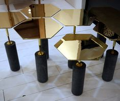 Brass hexagonal tables to die for by Egg Collective. Posted on Design Sponge. Unique Furniture, Table Furniture, Home Furniture, Furniture Design, Geometric Designs, Geometric Decor, Geometric Shapes, Furniture Inspiration, Retail Design