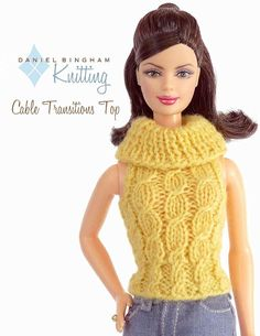 Items similar to Knitting pattern for 11 doll (Barbie): Cabled Transitions Top on Etsy Barbie Knitting Patterns, Knitting Dolls Clothes, Knitted Dolls, Crochet Dolls, Doll Clothes, Barbie Clothes Patterns, Crochet Barbie Clothes, Clothing Patterns, Barbie Wardrobe